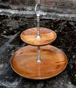 two three tier Wooden fruit stand with brass handle