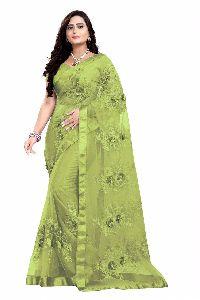 Embroidered Net Saree