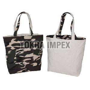 Canvas Reversible Shopping Bag with Self Handle