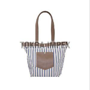 Canvas Tote Bag With PU Handle