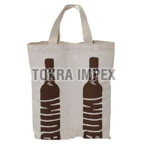 Canvas Two Bottle Wine Bag with Cotton Web Handle