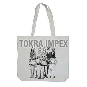 Cotton Logo Print Tote Bag with Long Self Handle