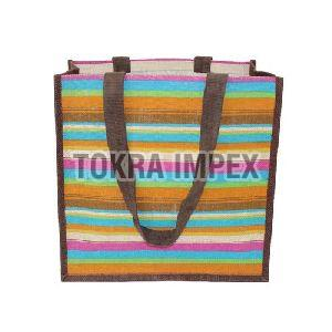 Cotton Web Handle PP Laminated Jute Tote Bag