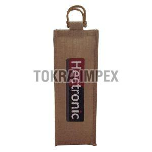 Customized Logo Print Jute Wine Bag With Cane Handle