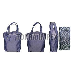 Denim Tote Bag with Self Handle