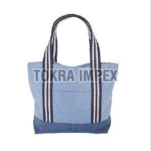 Denim Tote Bag With Web Handle