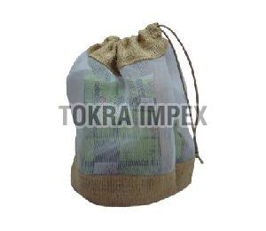 Jute Drawstring Bag With Plastic Net Window
