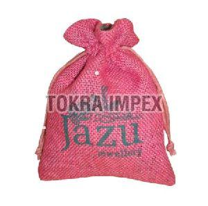 Jute Drawstring Jewelry Bag with Cotton Lining