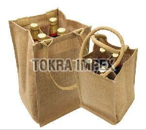 Jute Four Bottle Wine Bag with Inside  Separator