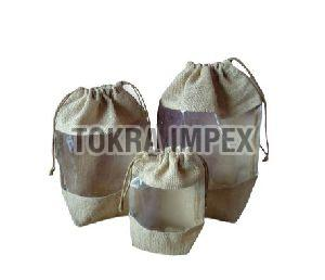 Non Laminated Jute Drawstring Bag with PVC Window