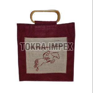 Oval Shape Cane Handle Jute Bag