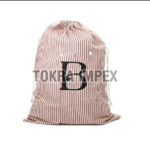 Poly Cotton Self Stripe Print Drawstring Bag