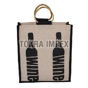 PP Laminated Juco Three Wine Bottle Bag with Cane Handle