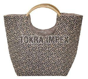 PP Laminated Jute Beach Bag With Round Cane Handle