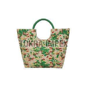 PP Laminated Jute Beach Bag with Round Padded Rope Handle