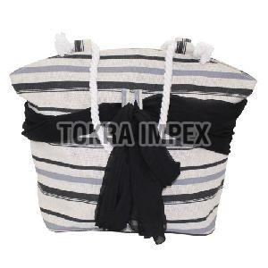 PP Laminated Jute Beach Bag with Twisted Rope Handle
