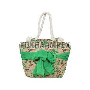 PP Laminated Jute Beach Bag with Twisted Rope Handle and Sarong