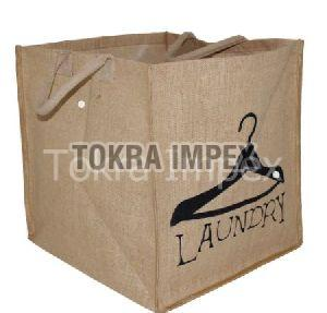 PP Laminated Jute Laundry Bag With Padded Rope Handle