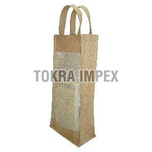 PP Laminated Jute Mesh Window Wine Bag