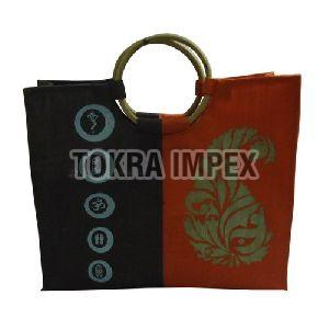 PP Laminated Jute Shopping Bag with Wooden Cane Handle
