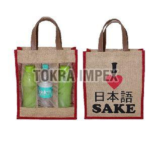 PP Laminated Jute Three Bottle Wine Bag with PU Handle