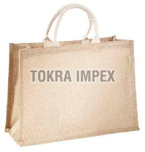 Plain PP Laminated Jute Tote Bag with Padded Rope Handle