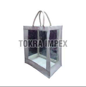 PP Laminated Jute Window Tote Bag With Padded Rope Handle