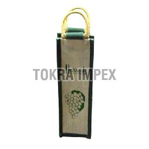 PP Laminated Jute Wine Bag with Wooden Cane Handle