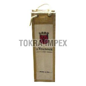 PP Laminated Jute Wine Bottle Bag with Cotton Cord Handle