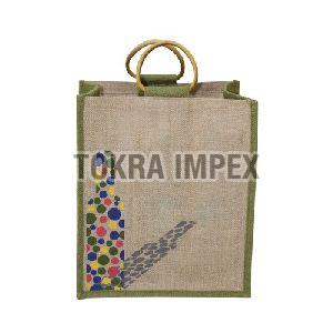 PP Laminated Six Bottle Jute Wine Bag