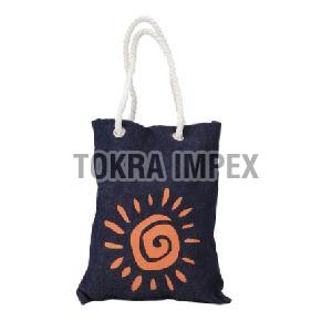 Printed Denim Tote Bag with Twisted Cotton Rope Handle