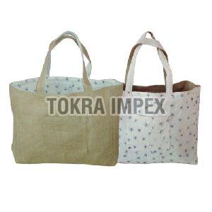 Reversible Jute Cotton Grocery Tote Bag
