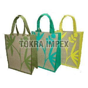 Self Handle Leaf Texture Print PP Laminated Jute Shopping Bag