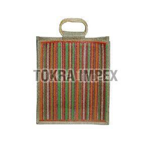 Stripe Print Cane Handle PP Laminated Jute Bag