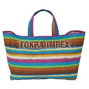 Stripe Print PP Laminated Jute Shopping Bag
