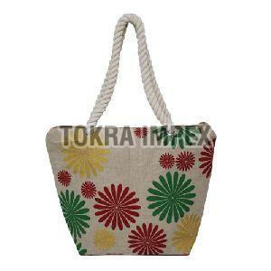 Twisted Rope Handle PP Laminated Juco Fabric Beach Bag