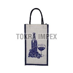 PP Laminated Two Bottle Jute Wine Bag with Cotton Rope Handle