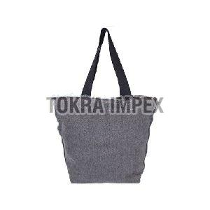 Washed Denim Tote Bag With Web Handle