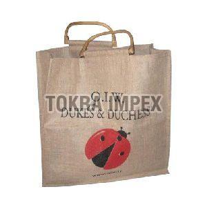 Wooden Cane Handle Jute Promotional Bag