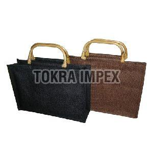 Wooden D Shape Cane Handle Jute Shopping Bag