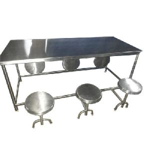 6 Seater Stainless Steel Canteen Table