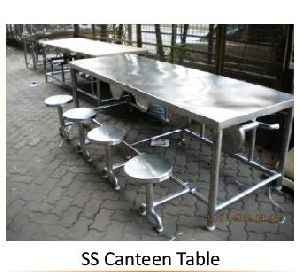 8 Seater Stainless Steel Canteen Table