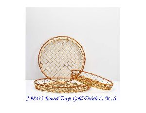 Gold Finish Round Tray
