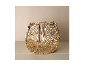 Metal Basket with Rope Handle