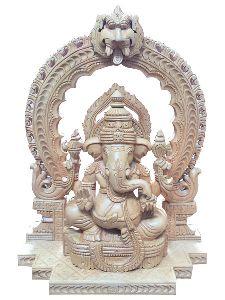 12 Inch Wooden Ganesh Statue