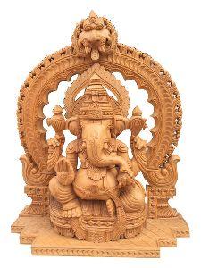 21 Inch Wooden Ganesh Statue