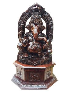 Rosewood Ganesha Statue