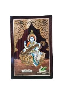 Wooden Lord Saraswati Wall Hanging