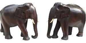 Rose Wooden Elephant Pair
