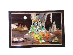 Wooden Radha Krishna Wall Hanging